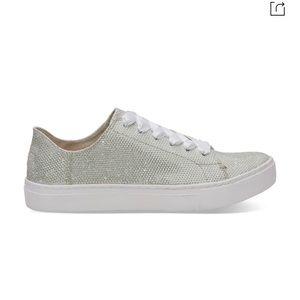 Toms Sz 8.5 Lennox Ivory Glitter Sneakers